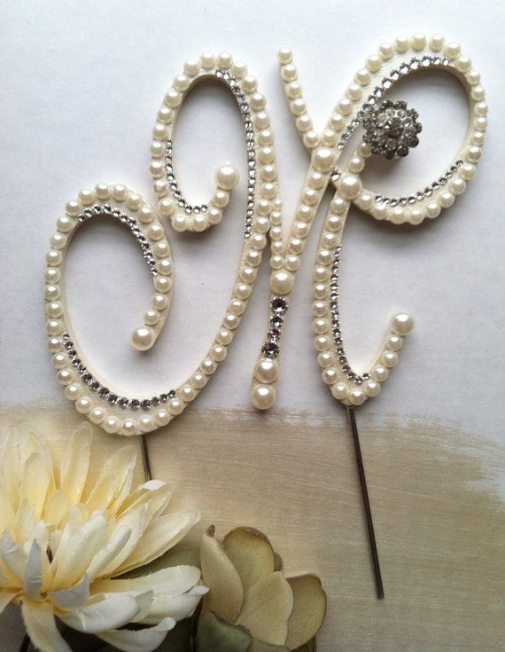 "Pearl Cake Topper Monogram Wedding Cake Topper w/ Swarovski Crystals Destination Wedding Letter M ""Regal""design any letter A to Z"
