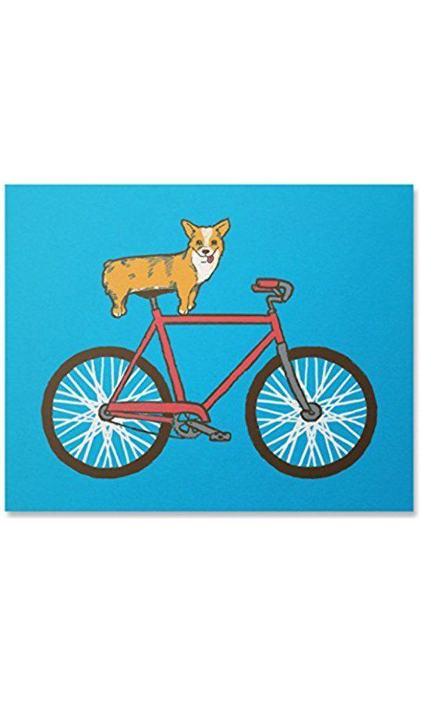 Corgi Print / Bike Print / Bicycle Print / Corgi Wall Art / Dog Print / Home Decor / 8 x 10 / Best Price