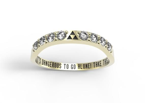 Zelda Wedding Band Triforce Inspired Yellow Gold Wedding Set Nintendo Video Game Wedding Ring Geek E