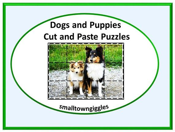 Dogs and Puppies Cut and Paste Puzzles. These 20 cut and paste puzzles will help students in preschool, kindergarten, special Ed, and autistic classrooms develop problem solving skills, fine motor skills, and hand eye coordination. These printable Dogs and Puppies cut and paste