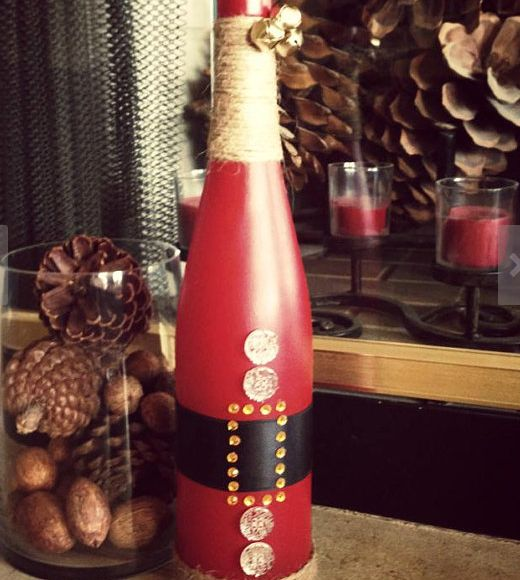 Easy Christmas Decor Ideas- Santa Wine Bottle - Click Pic for 25 Holiday Craft Ideas | Christmas Crafts