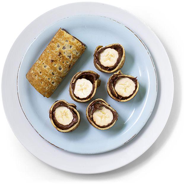 Pannekaker med sjokoladepålegg og banan -