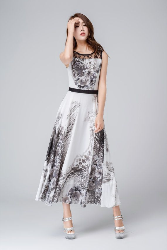 black and white dress printed dress chiffon dress
