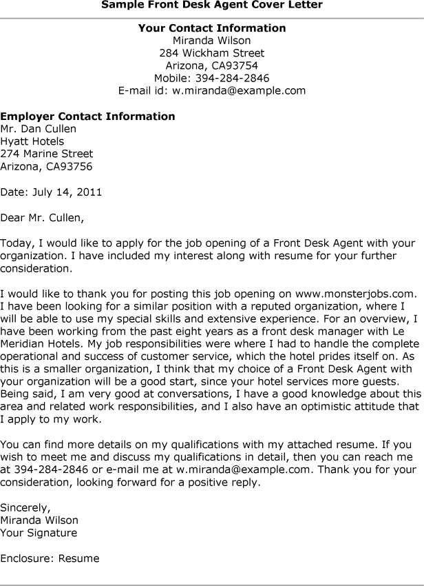 Hotel Desk Clerk Cover Letter. Resume Sample For Front Desk ...