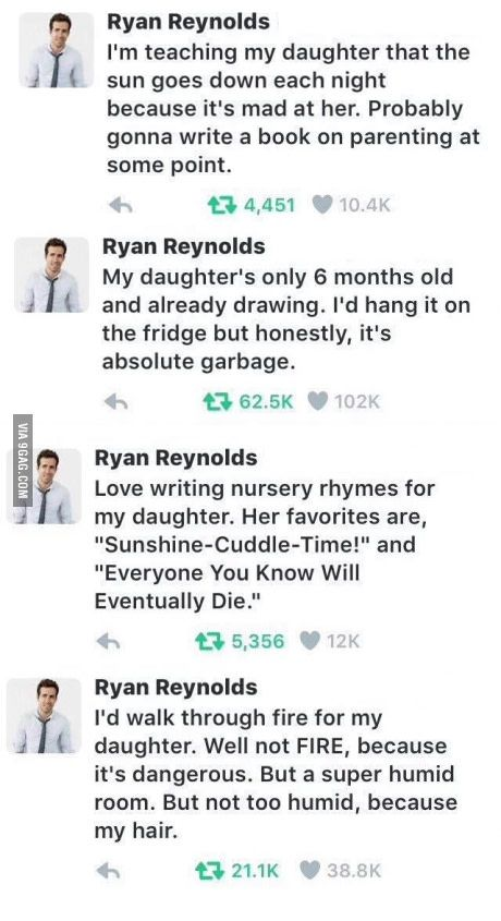 """How to be the most savage dad"" a guide written by Ryan Reynolds"