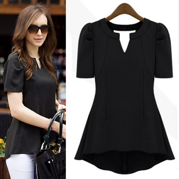 New Style Woman V Neck Short Sleeve Solid Black Blouse