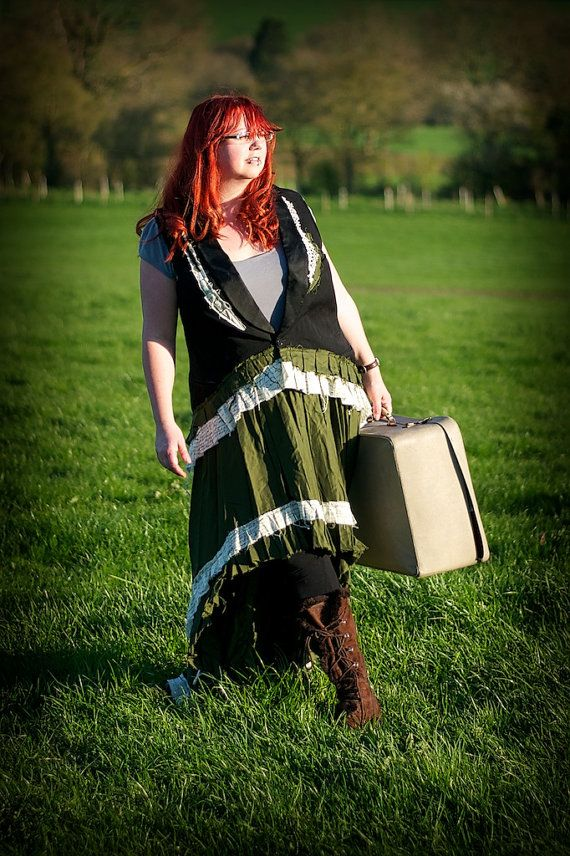 Black & green steampunk outfit. Waistcoat / vest and skirt. Neo-Victorian clothing. Plus size Steampunk costume