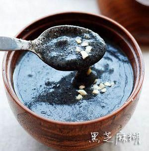 Black sesame soup is a popular Chinese dessert that can be widely found throughout China and Hong Kong. It is generally served hot.    In Cantonese cuisine, it is a form of tong sui, or sweet soup (similar to Western pudding). The main ingredient is crushed black sesame seeds in a flour form. It is boiled, and, sometimes, granulated sugar is added to further sweeten the soup. The soup is perhaps the thickest of all tong sui. Tangyuan is also sometimes added into black sesame soup.