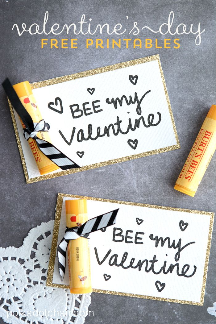 Hoping to keep it simple this Valentine's Day? Here's an easy Valentine's idea for you to craft. Download Polka Dot Chair's Bee My Valentine printable and attach it to pencils for younger kids or Burt's Bees lip balm for others.