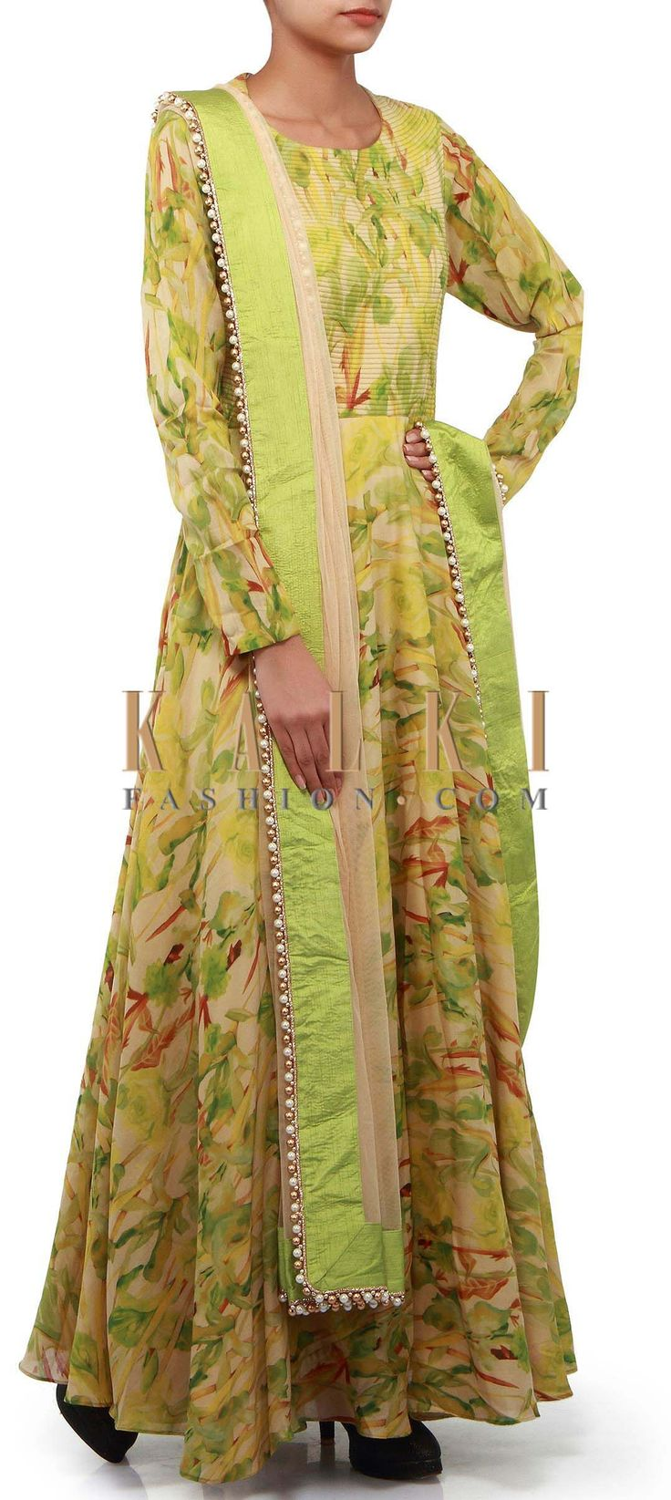 Buy Online from the link below. We ship worldwide (Free Shipping over US$100). Product SKU - 302272. Product Link - http://www.kalkifashion.com/green-anarkali-suit-adorn-in-floral-motif-print-only-on-kalki.html