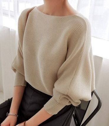 Elegant neck high gauge knit puff sleeve knit all