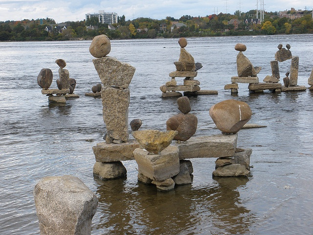 Ottawa river- balanced stone sculptures