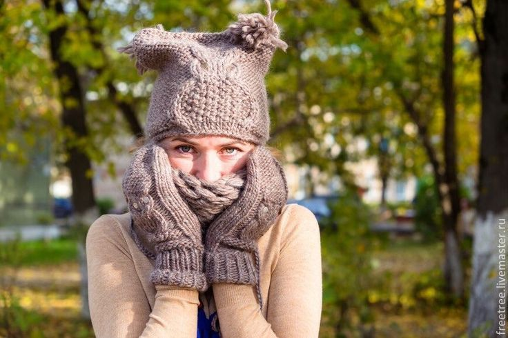 Купить Вязаная шапочка с совой и ушками - бежевый, орнамент, вязаная шапочка, вязаная шапка