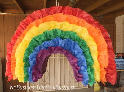 I like this one better, and it has a tutorial!  DIY Rainbow Pinata from No Business Like Sew Business
