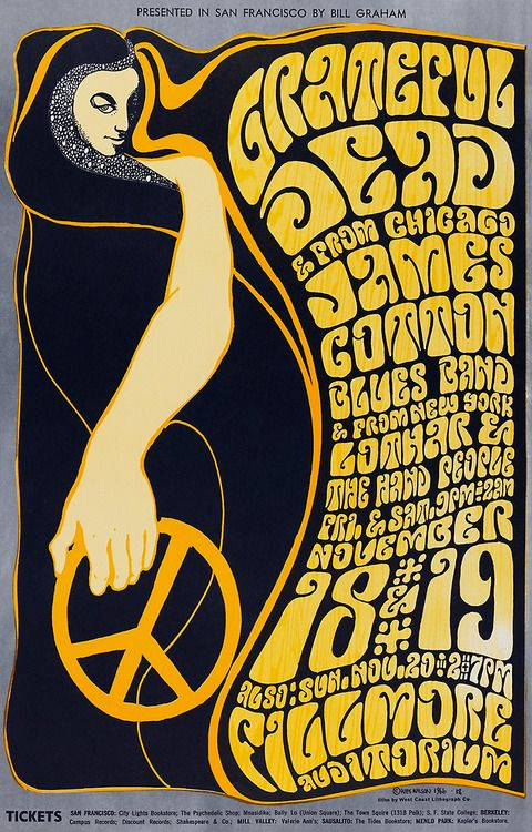 Concert poster for the Grateful Dead at the Fillmore, San Francisco, 1966. Artworkby Wes Wilson.