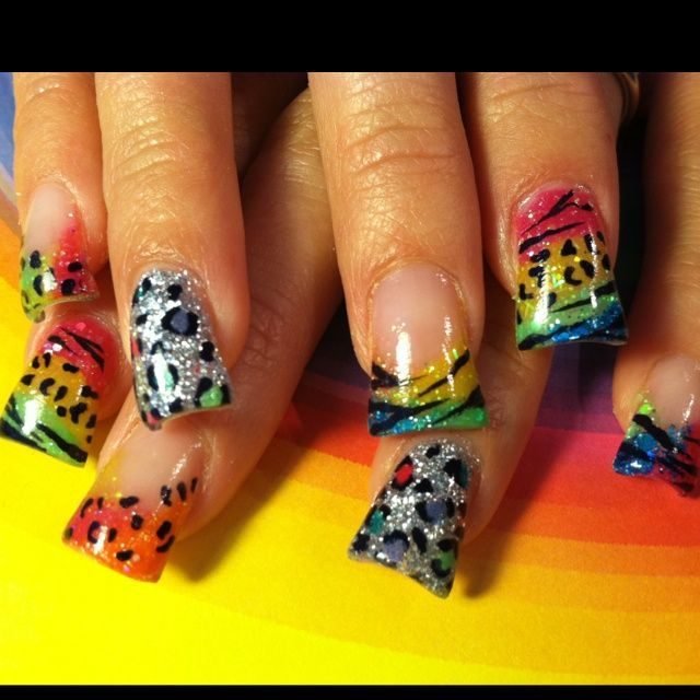 Zebra Acrylic Nail Designs | Bright color acrylic with zebra & cheetah print! | Nail Designs