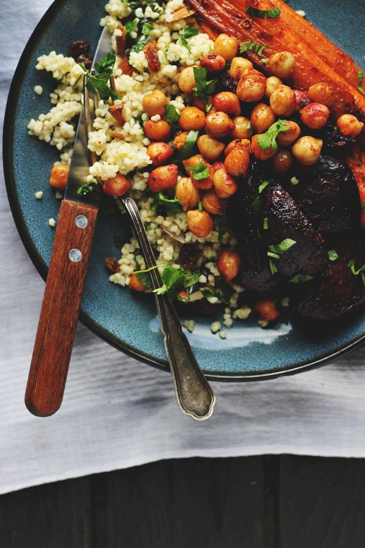 Harissa Roasted Roots with Crispy Chickpeas + Millet Pilaf | Happy Hearted Kitchen