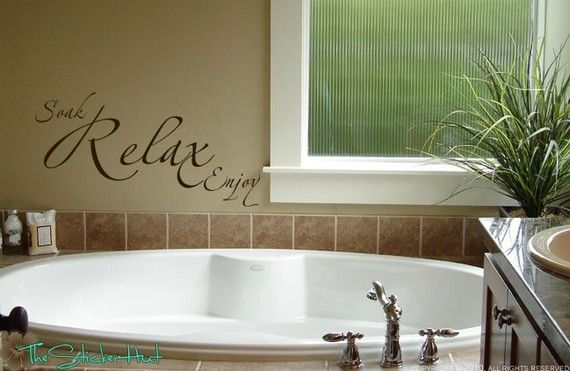 Bathroom vinyl wall art: Quotes Vinyls, Bathroom Decor Ideas, Bathroom Wall, Wall Words, Bathroom Quotes, Bathroom Sayings, Relaxing Enjoying, Enjoying Bathroom, Vinyls Wall Art