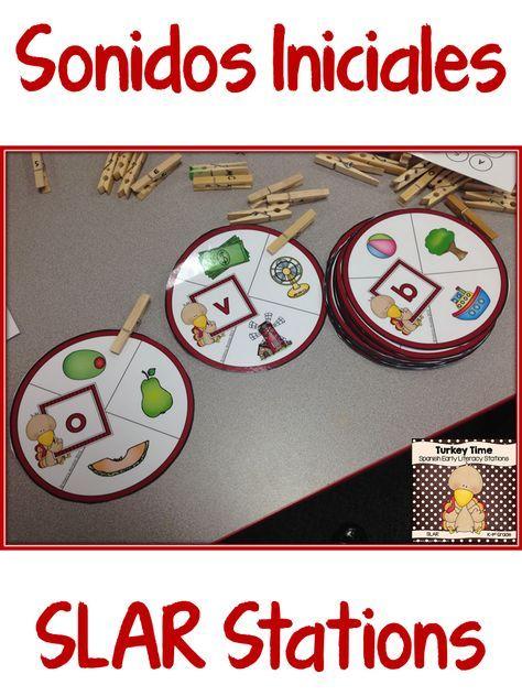 Spanish SLAR Stations for preschool and kindergarten.  Sonidos iniciales…