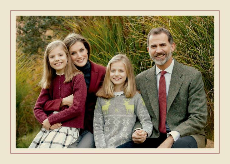 Royal families celebrating Christmas 2016:     King Felipe VI of Spain ﴾R﴿ and Queen Letizia ﴾L﴿ pose with their daughters Leonor, Princess of Asturias and Infanta Sofía of Spain, in the traditional Christmas card released by the Spanish Royal House in Madrid, Spain, on Dec. 12