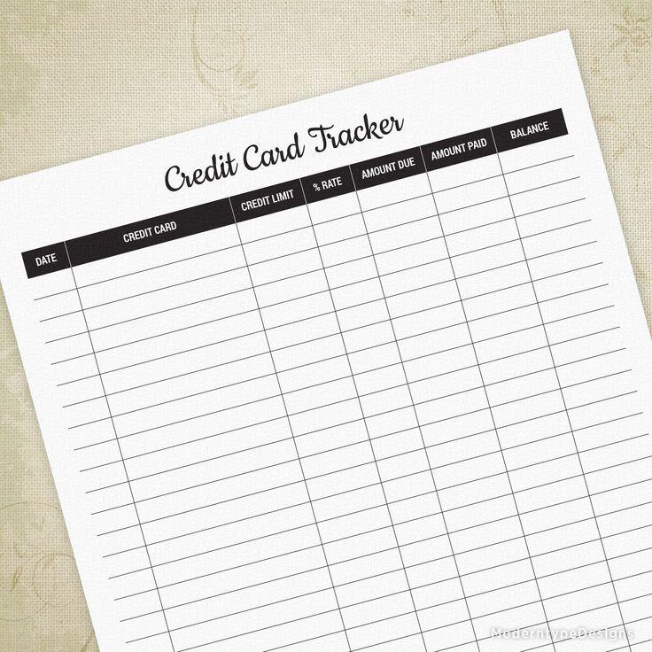 Credit card tracker printable debt saver bill paying log