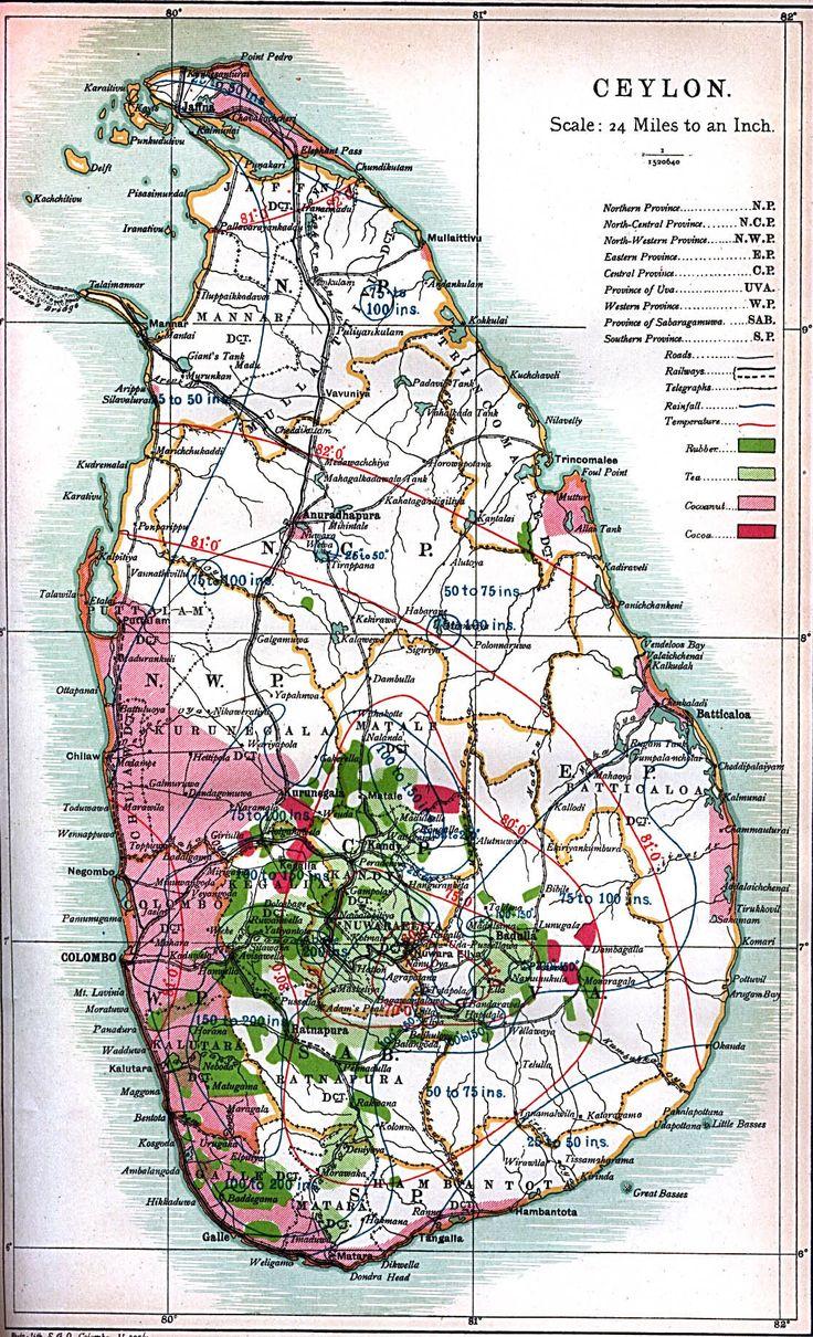 Map of Ceylon (Sri Lanka) – 1914