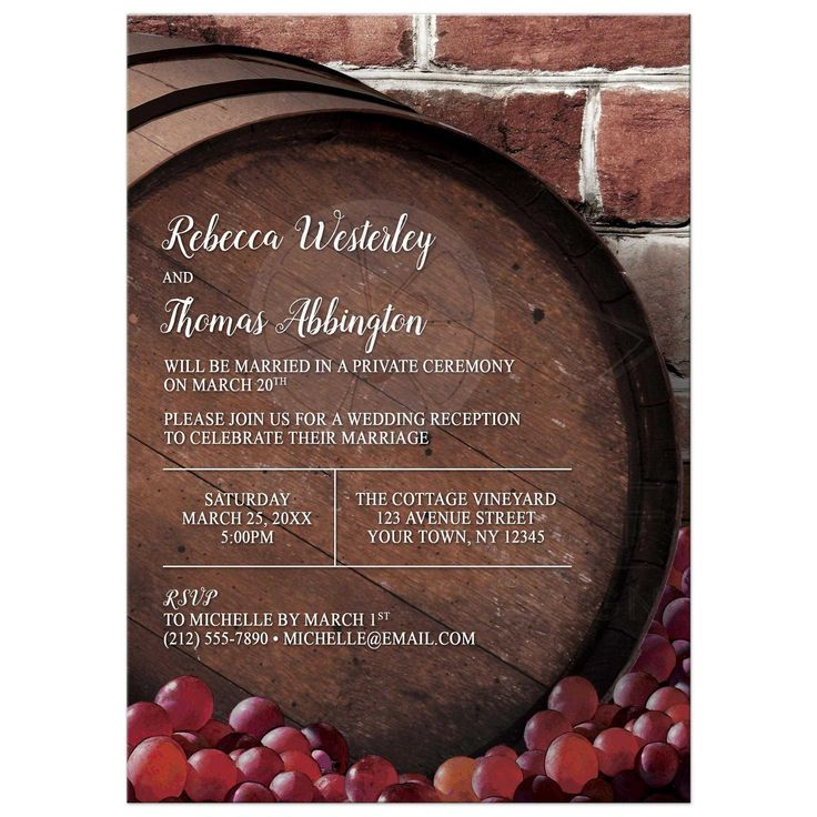 bridal shower invitation quote ideas%0A Reception Only Invitations  Rustic Wine Barrel Vineyard