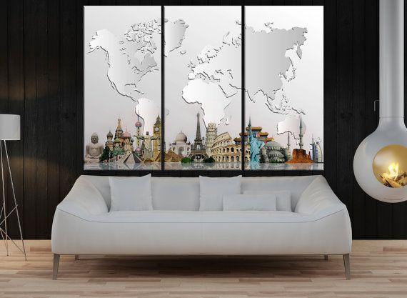 Large canvas art grey world map canvas print, world map wall art canvas, Modern wall decoration, wonders of the world map art decor No:8S60