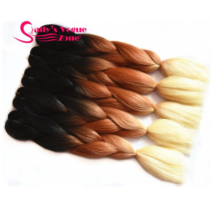 Ombre Synthetic Braiding Hair Afro Kinky Kanekalon Hair Extension Jumbo Braids 3 Tone Black+Brown+Blonde Hair Bulk for Braiding