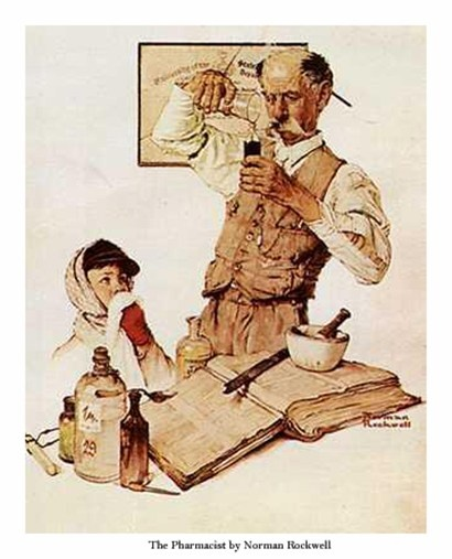"""Norman Rockwell """"Pharmacist""""...One of my favorite pieces of art."""