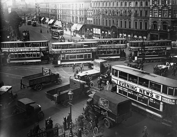 Some things never change: a traffic jam made up of trams, buses and lorries - London Evening Standard