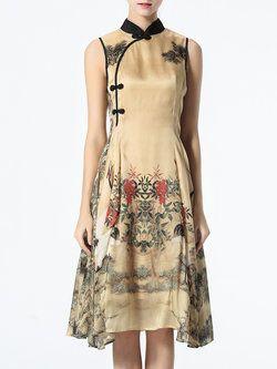 Multicolor Buttoned Floral Vintage Midi Dress
