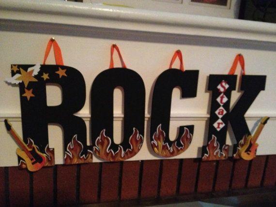 Rock Star Hanging Sign  Rock Star Bedroom Decor  by pinkapotamus, $40.00