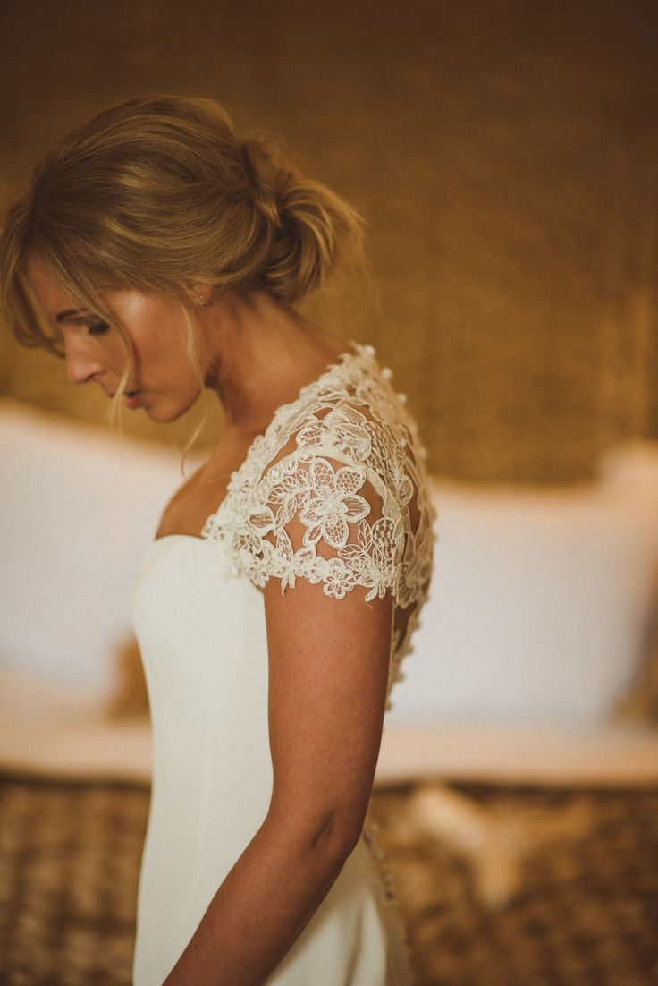 Bride in Lace Cap Sleeves Sassi Holford Bridal Gown - Matt Penberthy Photography | Classic Wedding at Buckland Tout-Saints Hotel in South Devon