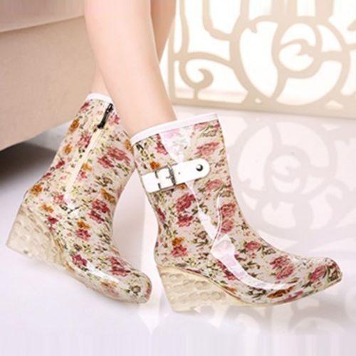 Nuevo-Hot-mujeres-Cunas-Botas-cremallera-lateral-y-coreano-Pop-Agua-Zapatos-Botas-De-Lluvia-mas