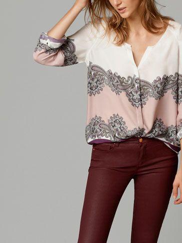 CAMISA FRANJA ESTAMPADA - Camisas & Blusas - WOMEN - España Massimo Dutti AW 2014