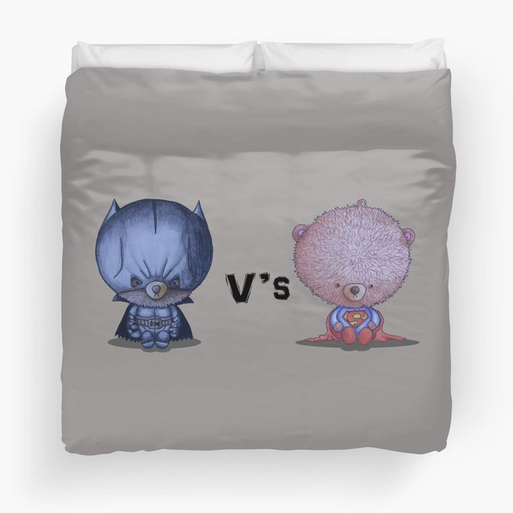 """""""Ted V's Ted"""" by I Love the Quirky - Duvet Cover available in Twin, Queen and King. Illustration of Bat Bear and Super Bear."""