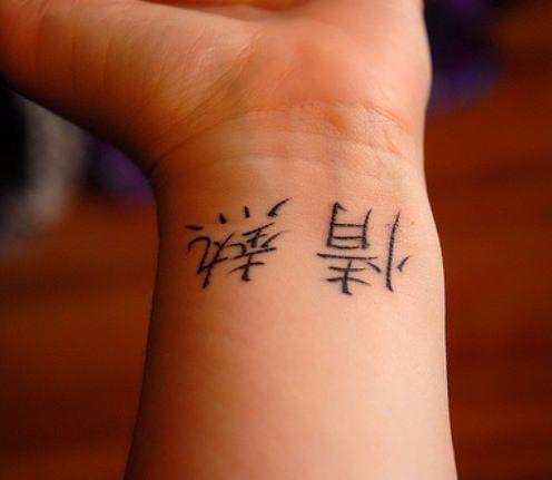 Cute Kanji Tattoo On Wrist
