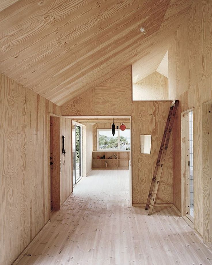 Natural pine and plywood finish out this interior. Interesting.