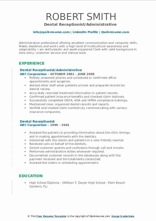 dental receptionist job description resume new dental