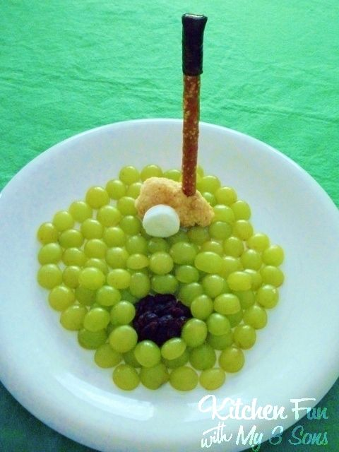 Kitchen Fun With My 3 Sons: Grape Golf Snack! A fun & easy snack for the kids to make dads that love Golf on Father's Day!
