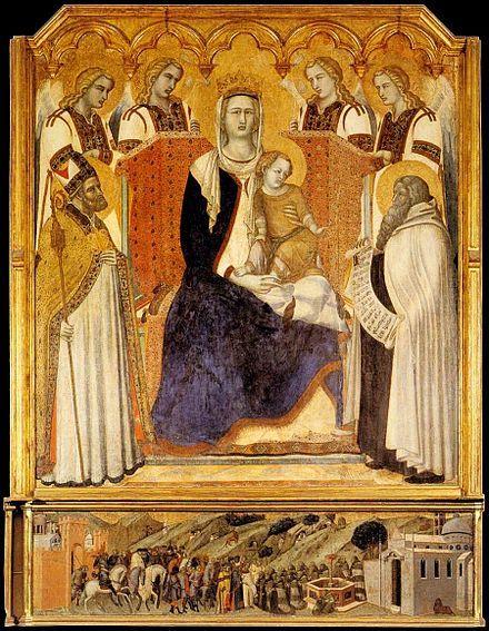Pietro Lorenzetti - Madonna dei Carmelitani (Madonna del Carmine) - 1328-1329, Siena Pinacoteca Nazionale. Profondità