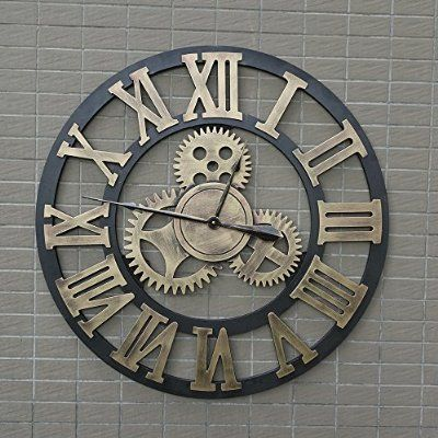 """31.5"""" Handmade Oversized 3D Roman retro decorative luxury art big gear wooden vintage large wall clock gold on the wall for gift (80cm Roman silver)"""