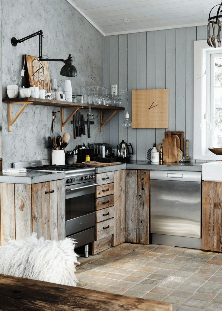 Book club modern rustic by country living magazine for Rustic modern kitchen cabinets