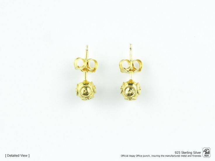 Portuguese Filigree EARRINGS Contas de Viana / Viana Beads Earrings (0.6cm) Traditional in 925 Sterling Silver w/ 24k Gold Bath by NadirFiligree on Etsy