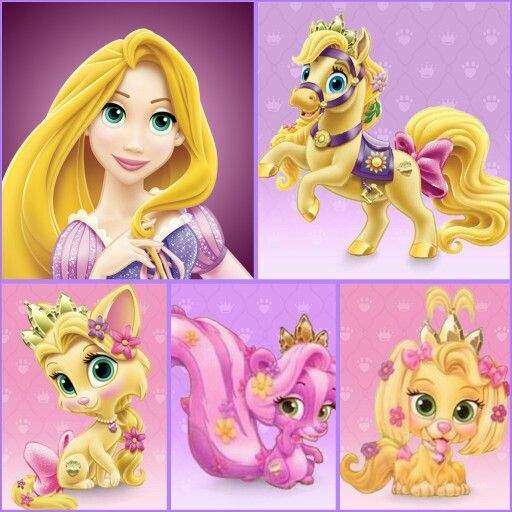 Rapunzel with Blondie (pony), Summer (kitten), Meadow (skunk), and Daisy (puppy) | Disney Palace Pets