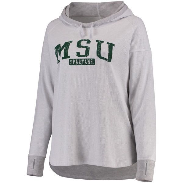 Women's White/Heathered Gray Michigan State Spartans Plus Size Pinhole... ($60) ❤ liked on Polyvore featuring tops, hoodies, white, women's plus size hoodies, womens plus size tops, white top, plus size womens hoodie and plus size hoodie