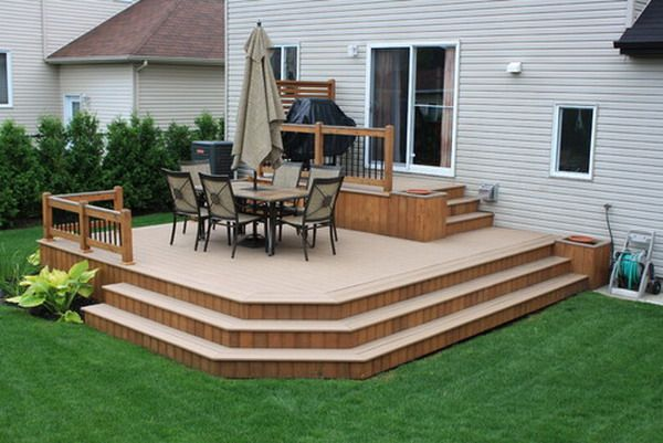 Modern patio deck hall landscape pool decks for Modern garden decking designs