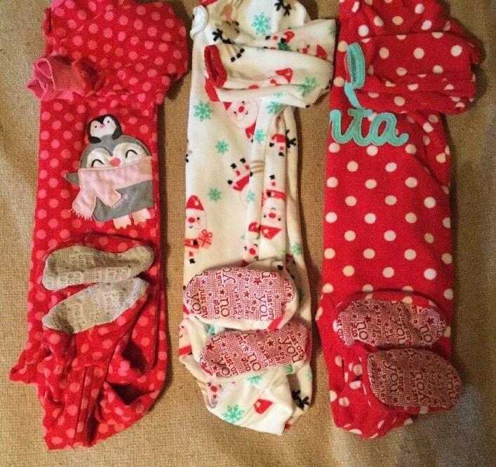 Baby Girl 3 Piece Lot Christmas Footie Pajamas Fleece Carter's Just One You 12M | eBay