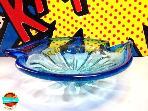 Vintage MURANO Blue Venetian Glass Bowl. Mid Century Home